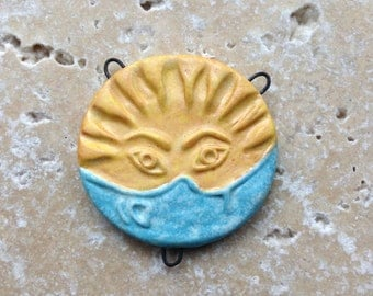Sun and moon pendant, stoneware pendant, hand carved pendant