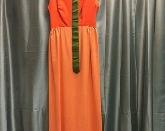 Vintage maxi shades of orange with green belt XS PRICE REDUCED
