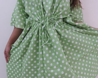 Polka Dot Kaftan , Caftan, Perfect dress, Spa Robe, For to be Moms, beach cover up, Sleepwear, Best Gift for her