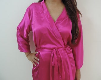 Code: H-5 Satin Solid Color Kimono Crossover patterned Robe Wrap - Bridesmaids gift, getting ready robes, Bridal shower favors, baby shower