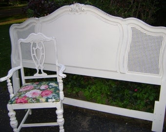 sHaBbY chic KING cane and wood headboard REDUCED