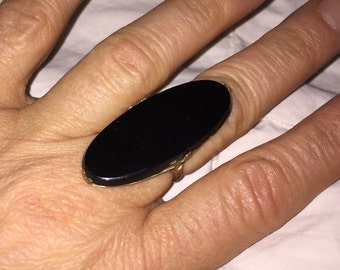 Huge Statement Ring Vintage Black Oval Glass Brass Victorian Revival Ring Size 7