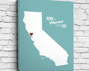 Home Is Wherever I'm With You - State or Country, Personalized Wedding or Anniversary Gift, Map Print or Canvas, Bridal Shower Gift Ideas