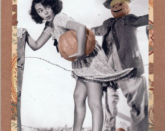 Original Handmade vintage inspired Halloween card