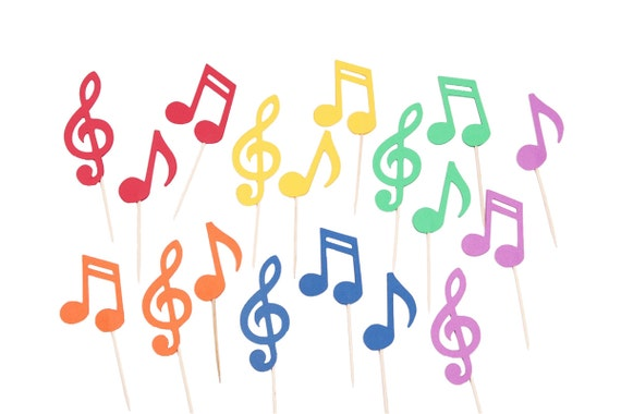 rainbow music note cupcake toppers music party picks music. Black Bedroom Furniture Sets. Home Design Ideas