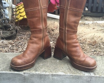 Skechers Chunky Brown Leather Boho Boots 90s