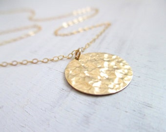 Gold disc necklace, hammered gold necklace, everyday jewelry, bridal necklace, circle necklace, simple minimalist everyday wear, disc charm