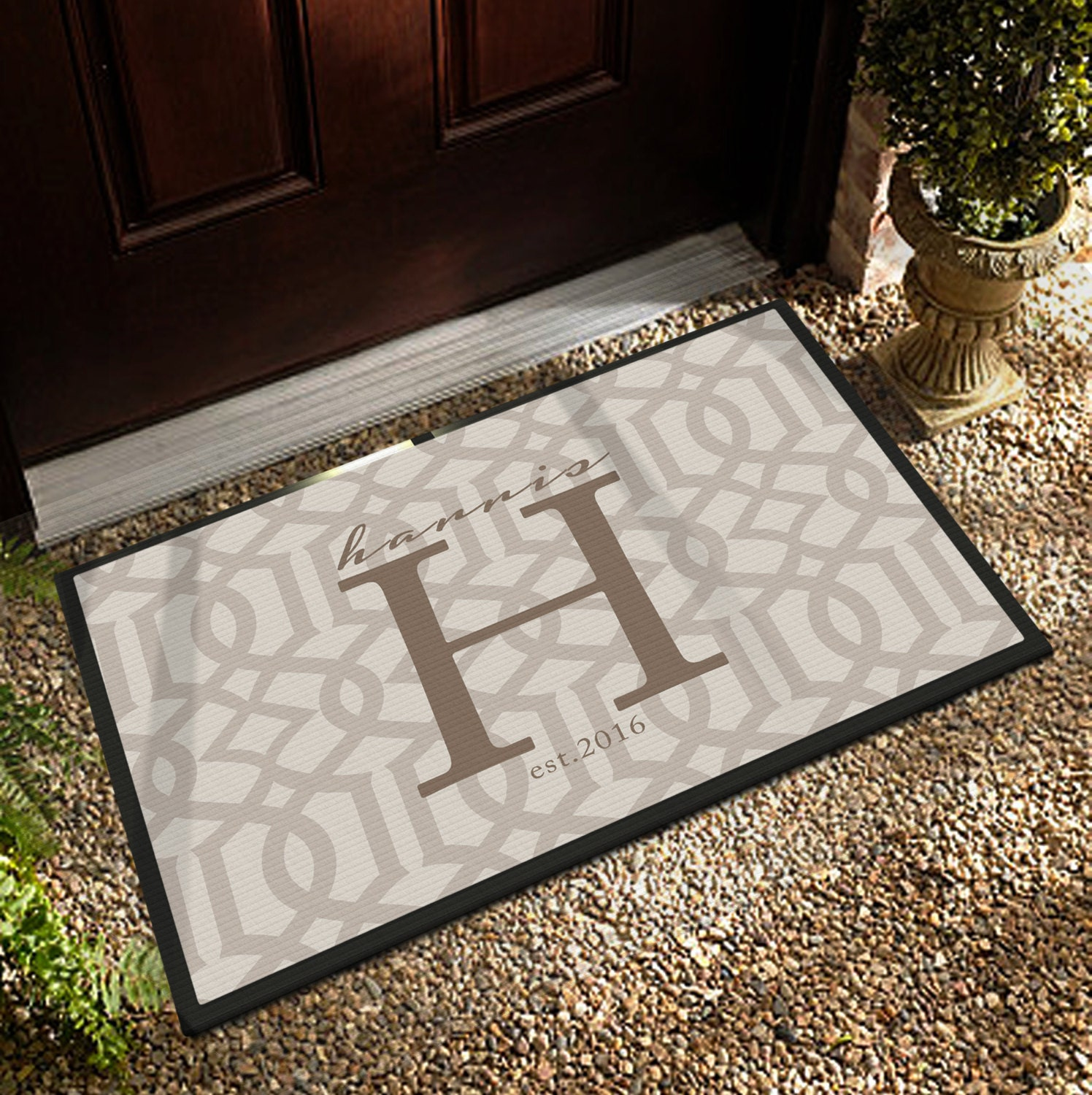 custom door mat 3 sizes personalized door mat by boutiquemonogram. Black Bedroom Furniture Sets. Home Design Ideas