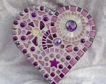 Purple glass mosaic heart shaped box