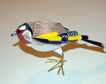 Goldfinch Sculpture, Handmade lifelike Finch model, Paper Bird Art