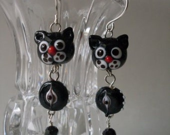 Primitive Folkart Black Kitty Kat Earrings  Beaconhillcollect  We ship Internationally