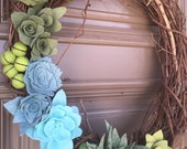 Succulent wreath. Perfect for front doors or interior decor