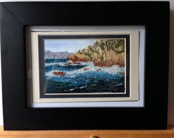 Embroidered Seascape, Embroidered Landscape, Stitched Ocean Scene, Oregon Coast, Free Motion Embroidered Picture