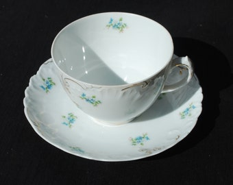 Carlsbad China Austria Tea Cup and Saucer Forget-Me-Nots