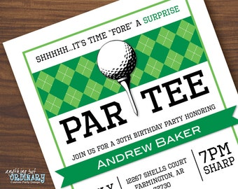 Golf Surprise Party Invitations, Printable Golf Surprise Birthday ParTEE Invite, Golf Party Invite, DIY digital file