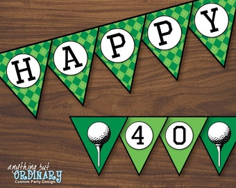 Golf Birthday Banner, ParTEE Printable Golf Banner, 40th Birthday Banner, INSTANT DOWNLOAD, printable digital file