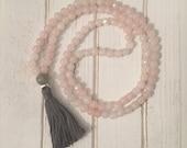 Rose Quartz Mala beads with gray tassel; mala beads; 108 mala beads