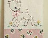 sweet pink deer flour sack tea towel