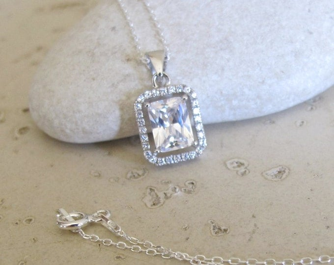 Rectangle Shape Bridal Necklace- Halo Cubic Zirconia Wedding Necklace- Sterling Silver Crystal Necklace- Classic Gemstone Silver Necklace