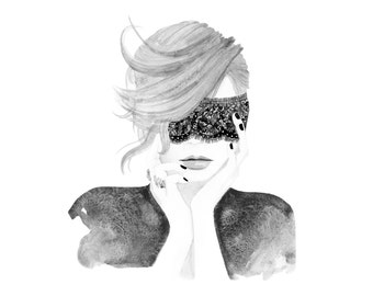 Lace Mask, print from original watercolor and mixed media fashion illustration by Dena Cooper
