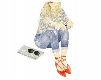 Sunday Morning, print from original watercolor and mixed media fashion illustration by Dena Cooper