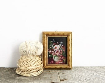 Tiny Vintage Oil Painting - Flea Market Chic - Pretty Flowers
