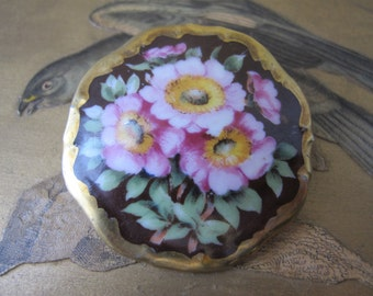 "Flower Garden ""Germany"" Hand-Painted Porcelain Flowers Brooch Pin. Genuine Gold Gilt Boarder/ Romantic Victorian Style Jewelry from Germany"
