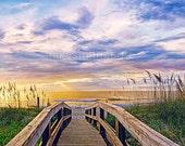 Beach Art Print Nautical Decor Sunrise Coastal Home Pink Blue Yellow Dreamy Cottage House Wall Art  Autumn Pier Boardwalk Ocean Photo