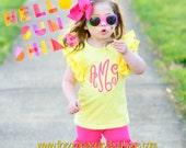 Yellow Flutter Sleeve Shirt-monogrammed flutter- m2m sew sassy