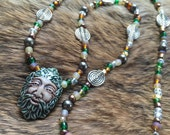 Greenman Necklace- handmade ceramic agate glass- horned god wicca labyrinth pagan goddess new age