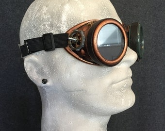Steampunk Goggles- handmade- cosplay costume mad scientist pilot victorian gears