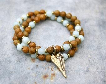 Beaded Stretch Bracelet - Yoga Bracelet - Wrap Bracelet - Wood Jasper and Amazonite