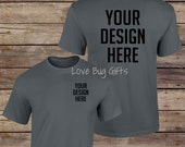 TShirt Mock Up - Charcoal Gray - Unisex Short Sleeve Shirt - Add your design - INSTANT Download
