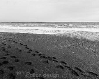 Black and White Beach Photography, Footprints on Beach, Black Sand Beach, Vik Iceland Photo, Beach Art, B&W Beach Photo