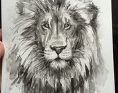 Lion Watercolor Painting, Original Artwork, Safari Animal, Wildlife Art, Black and White Animal Art, Lion Painting, Lion Portrait, Nursery A