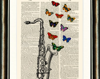 Saxaphone with Butterflies - vintage image printed on a late 1800s Dictionary page Buy 3 get 1 FREE