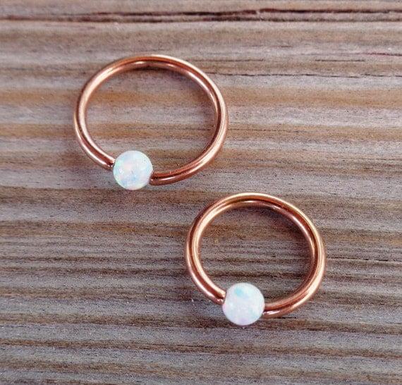 14K Solid Gold Captive Fire Opal Bead Septum,Upper Ear Daith Rook,Tragus