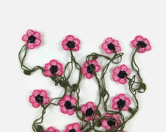 Crochet Necklace Pink Oya Flowers Long Wrap Necklace Flower Scarf Crocheted Jewelry Hippie Style Boho Jewelry bead crochet Lariat necklace,