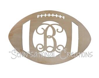 Monogrammed Wooden Football, Monogram Football, Football Door Hanger, Football Wreath, Door Decor, Fall Decor, Football, Football Season