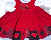 Adorable Samara Polka Dot Red Corduroy Jumper, Appliqué Scottie Dogs/Hearts, White Turtle Neck Bodysuit, 100% Cotton, Size 2 Toddler