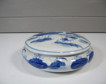 Asian Bowl and Lid, Blue and White Porcelain Bowl, Chinoiserie Style