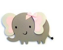 Elephant Card - Gray Elephant - Elephant Cut Out Card - Children - Kids Cards - Zoo Animals