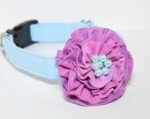 Designer Flower Dog Collar - Hydrangea Blue Hand Dyed Dog Collar - blue dog collar, dog collar, wedding dog collar, arcadius dog collars