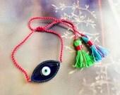 Boho tassel bracelets, silver evil eye boho bracelets sterling silver bracelet bohemian turkish evil eye 925 silver lucky eye bracelet