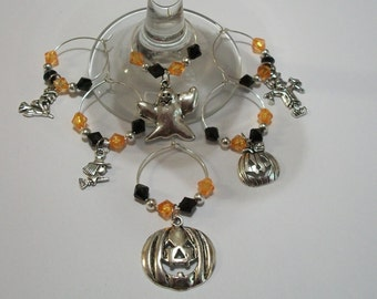 Set of 6 Cute Halloween Wine Charms