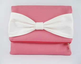 Fold Over Clutch, Personalized Clutch, Coral Pink with Ivory Bow Clutch, Bridal Gift, Bridesmaid Gift, Wedding Clutch, Zipper Bag