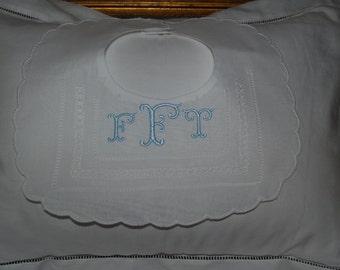 Heirloom Personalized Monogrammed Linen Bib For Christenings or Baptismal