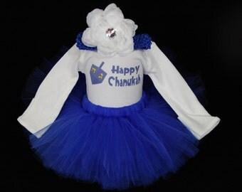 My First Chanukah Outfit - Baby's 1st Chanukah - Babys First Hanukkah - Baby Girls 1st Chanukah Tutu - *JH1502