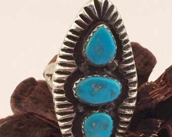 Vintage Navajo Sterling Turquoise Tall Ring sz 5.5