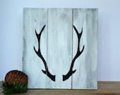 Antler, Deer Rustic Solid Wood Sign